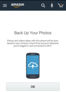 backup photos from amazon shopping app