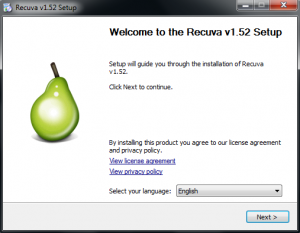 installing recuva data recovery software
